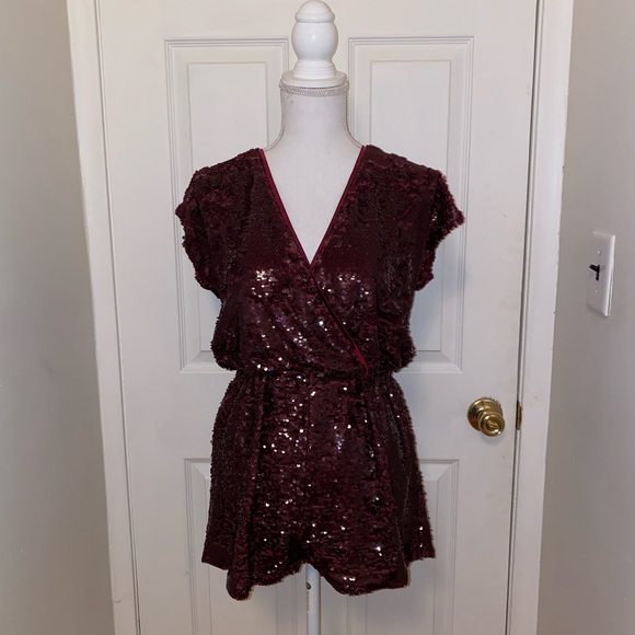 Honey Punch Pants - Burgundy sequence going out New Year's romper!